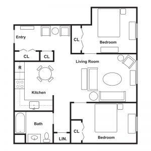 AHEPA-Highland Apartments Floor Plan Image 1