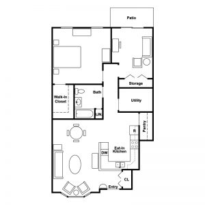 Belmont Villas Senior Apartments Floor Plan Image 1