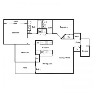 Brookside Apartments Floor Plan Image 3