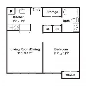 Ellis Hollow Apartments Floor Plan Image 1