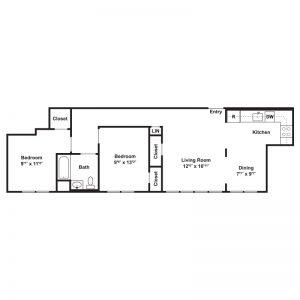 Hillside Apartments Floor Plan Image 1