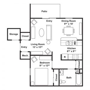 Poets Landing Apartments Floor Plan Image 1