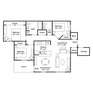 Poets Landing Apartments Floor Plan Image 3