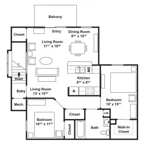 Poets Landing Apartments Floor Plan Image 4