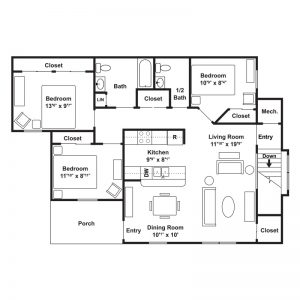 Poets Landing Apartments Floor Plan Image 5