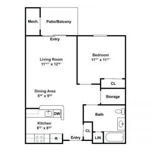 Seneca Place Apartments Floor Plan Image 1