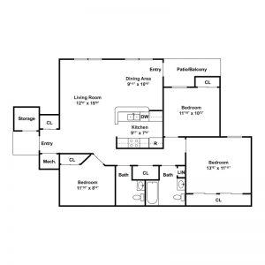 Seneca Place Apartments Floor Plan Image 3