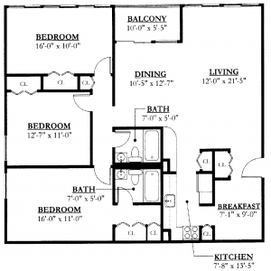 Southeast Towers II Floor Plan Image 3