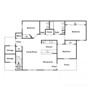 The Woodlands at Northside Apartments Floor Plan Image 3