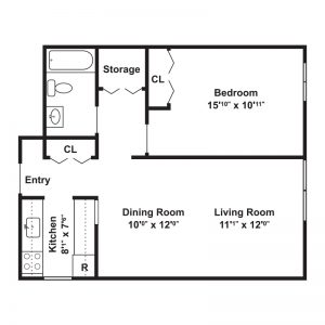 Towpath Manor Apartments Floor Plan Image 2