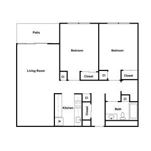 Village Square Apartments Floor Plan Image 3