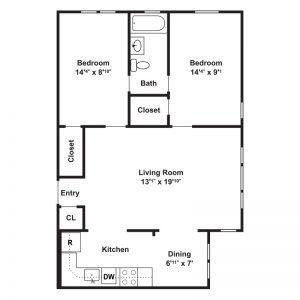 West Park Apartments Floor Plan Image 3