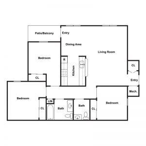 Willow Landing Apartments I & II Floor Plan Image 3
