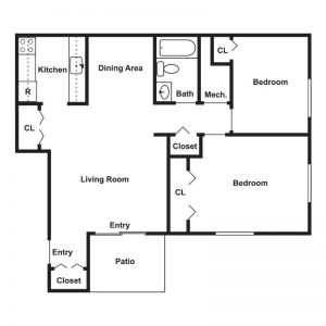 Wood Creek Apartments Floor Plan Image 1