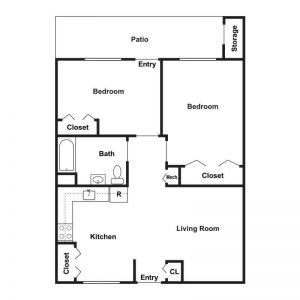 Woodburn Court II Apartments Floor Plan Image 4