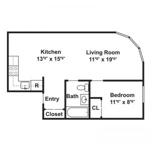 YWCA Apartments Floor Plan Image 1